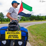Cross-Country for Peace: David Lorig, in Newberry, Michigan en route to Montreal